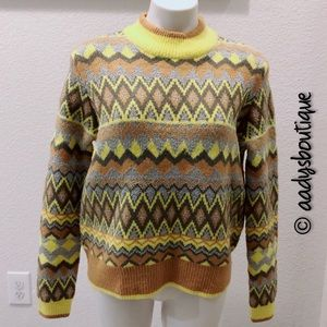 ANDREW MARC MUSTARD MOCK NECK SWEATER SIZE XL NWT